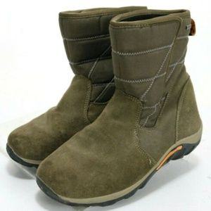 Merrell Jungle Moc Boy's Quilted Boots Sz 5 Brown